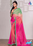 AZ 3356 Pink and Peach Georgette Fancy Saree