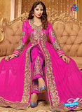 NS12263 Pink and Golden Anarkali Suit
