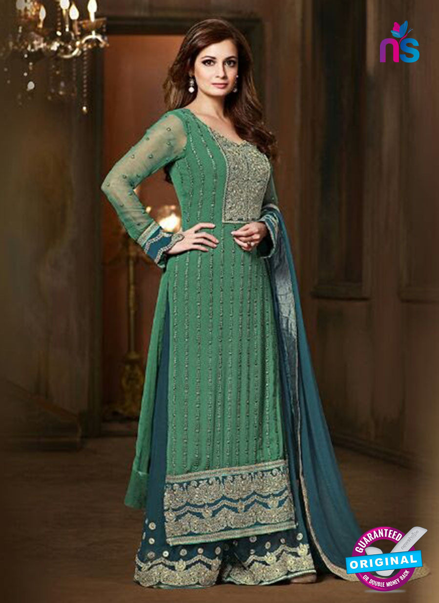 SC 12819 Green and Blue Pure Chiffon Party Wear Designer Suit