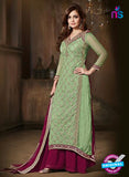 SC 12816 Green and Magenta Pure Chiffon Party Wear Designer Suit
