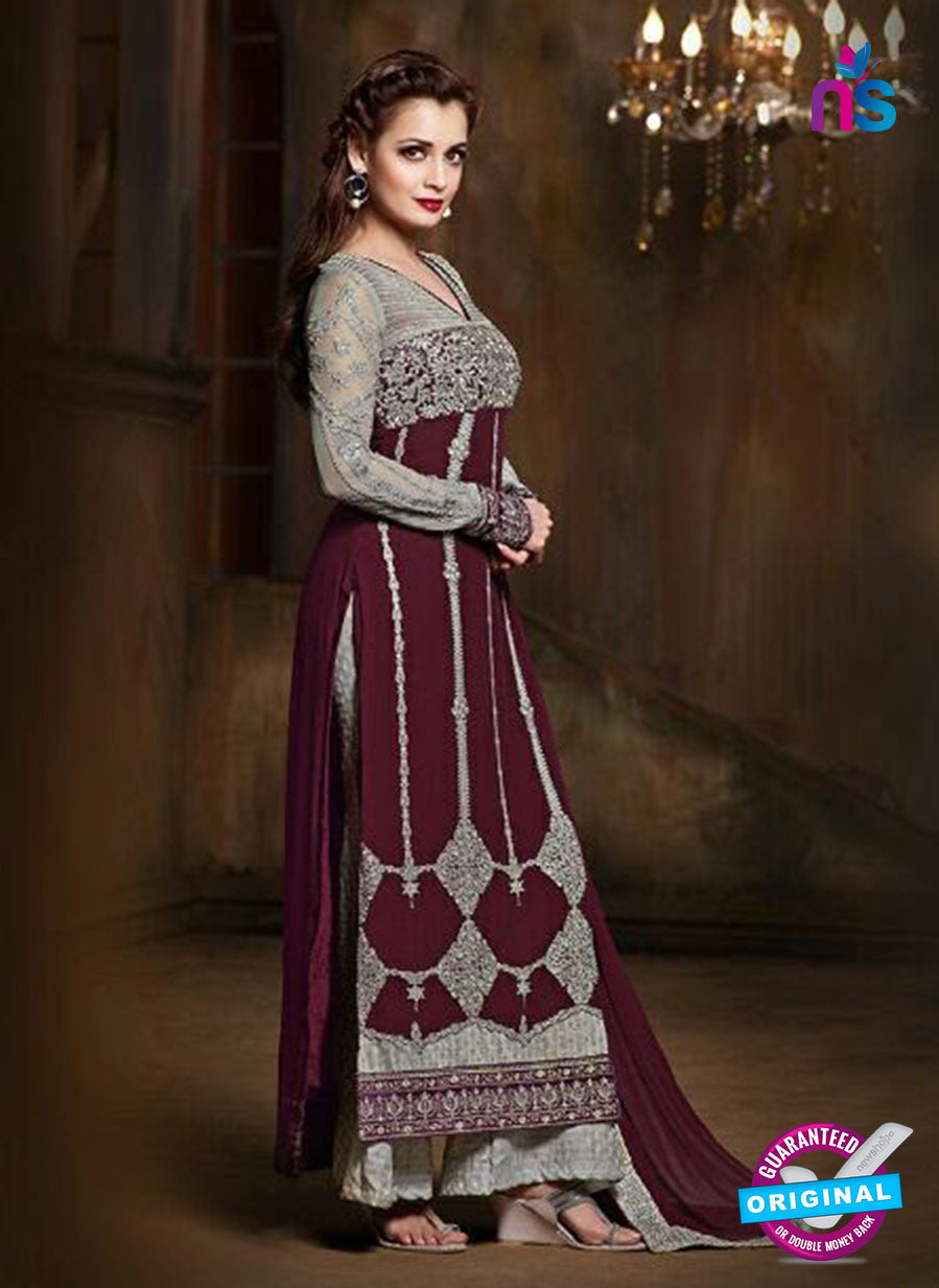 SC 12818 Maroon and Grey Pure Chiffon Party Wear Designer Suit