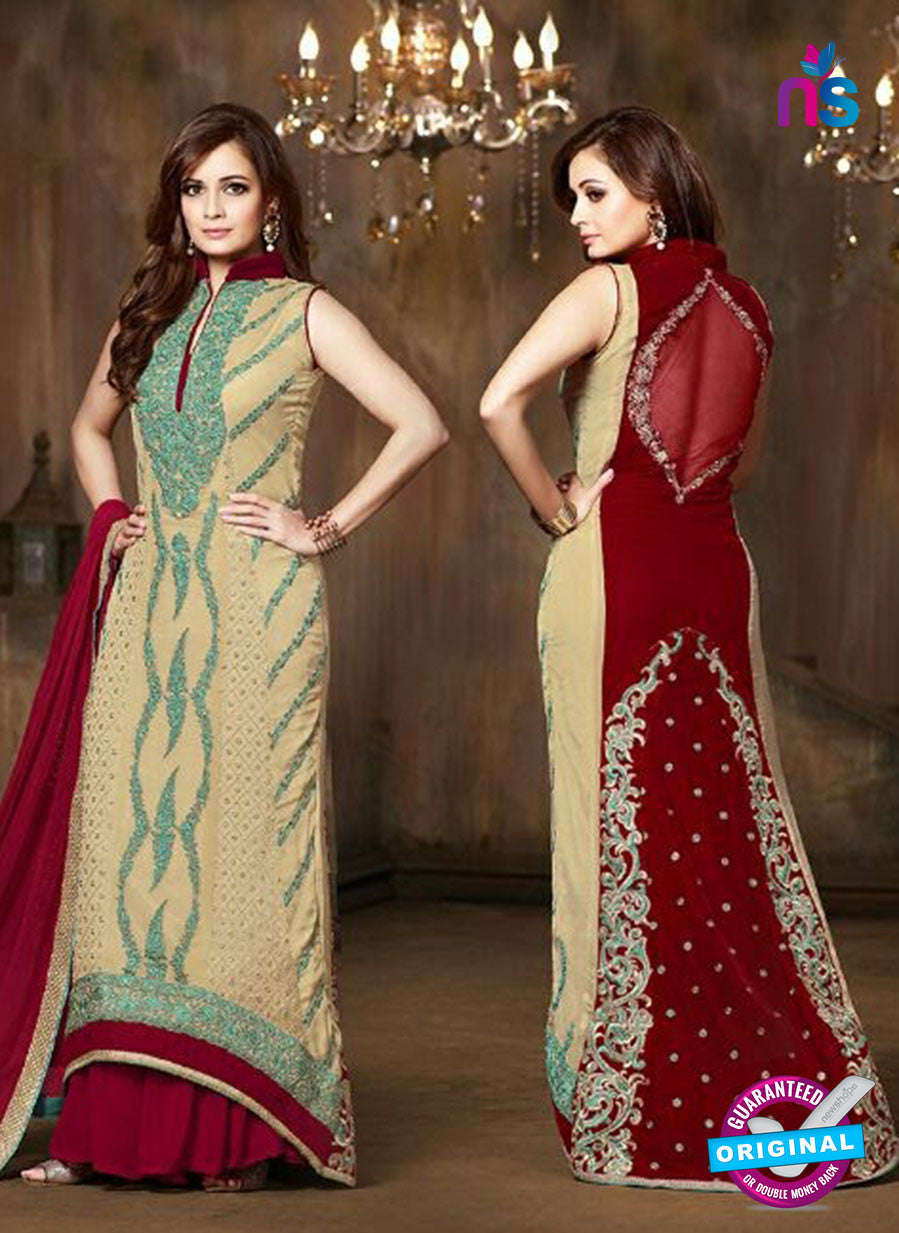 SC 12813 Beige and Red Pure Chiffon Party Wear Designer Suit