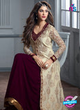 Maskeen 2602 Beige and Purple Velvet Fancy Designer Suit