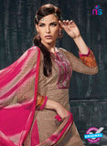 Varsha 2612 Pink & Brown Color Cotton Designer Suit