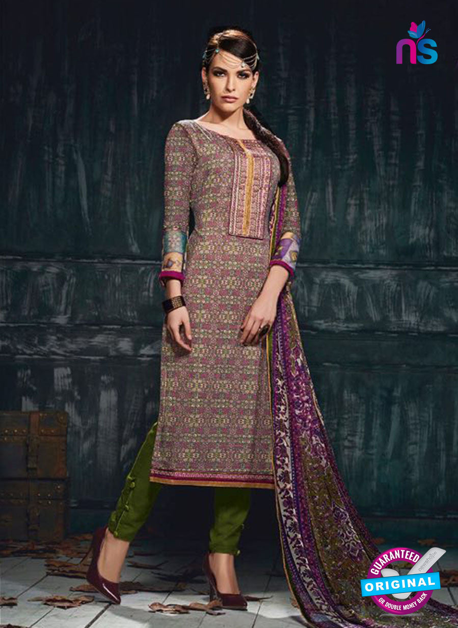 Varsha 2613 Green & Purple Color Cotton Designer Suit