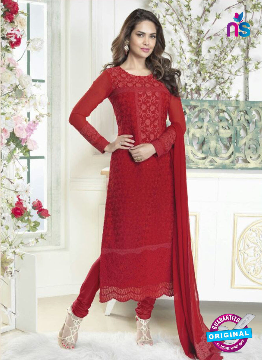 Fiona 2621 Red Faux Georgette Party Wear Straight Suit