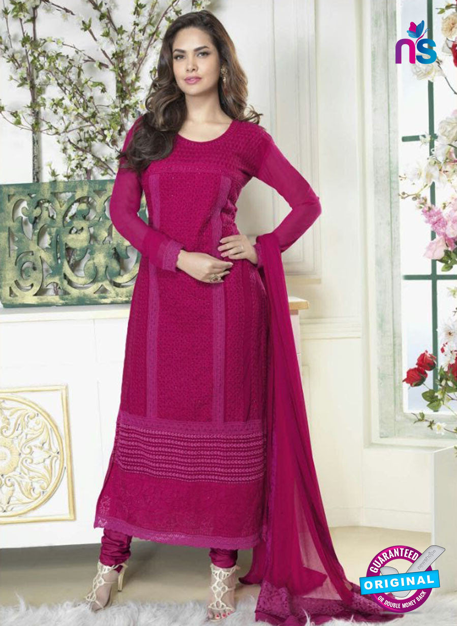 Fiona 2628 Magenta Faux Georgette Party Wear Straight Suit
