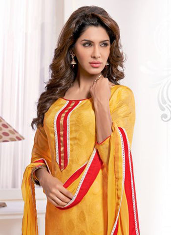 NS11568 Yellow and Red Designer Brasso Straight Suit