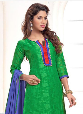 NS11564 Green and Blue Designer Brasso Straight Suit