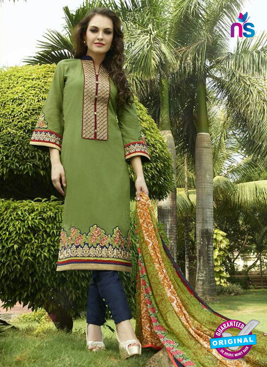 NS10965 Green and Dark Blue Cotton Satin Party Wear Pakistani Suit