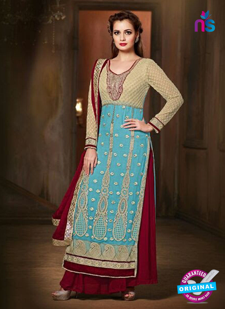 SC 12815 Blue and Maroon Pure Chiffon Party Wear Designer Suit