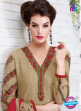 Ruhab 2700 Beige and Maroon Embroidered Georgette Party Wear Suit Online