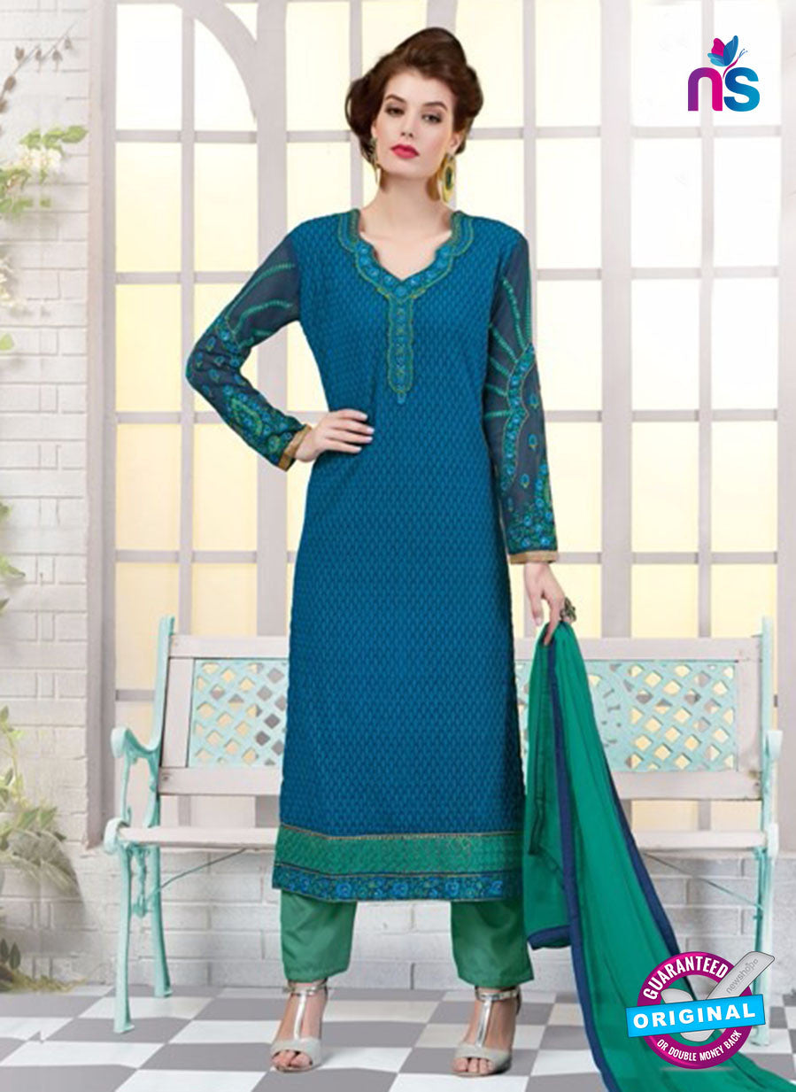Ruhab 2701 Blue and Green Embroidered Georgette Party Wear Suit