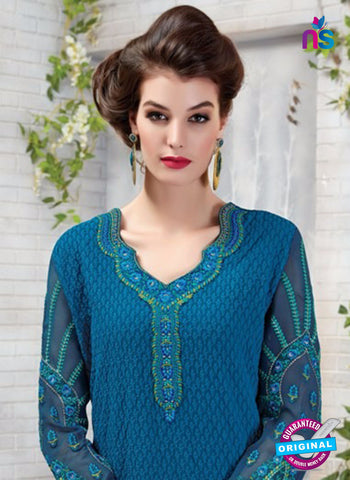 Ruhab 2701 Blue and Green Embroidered Georgette Party Wear Suit  Online