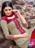 Kalakirti 2701 Beige and Pink Printed Cotton Suit