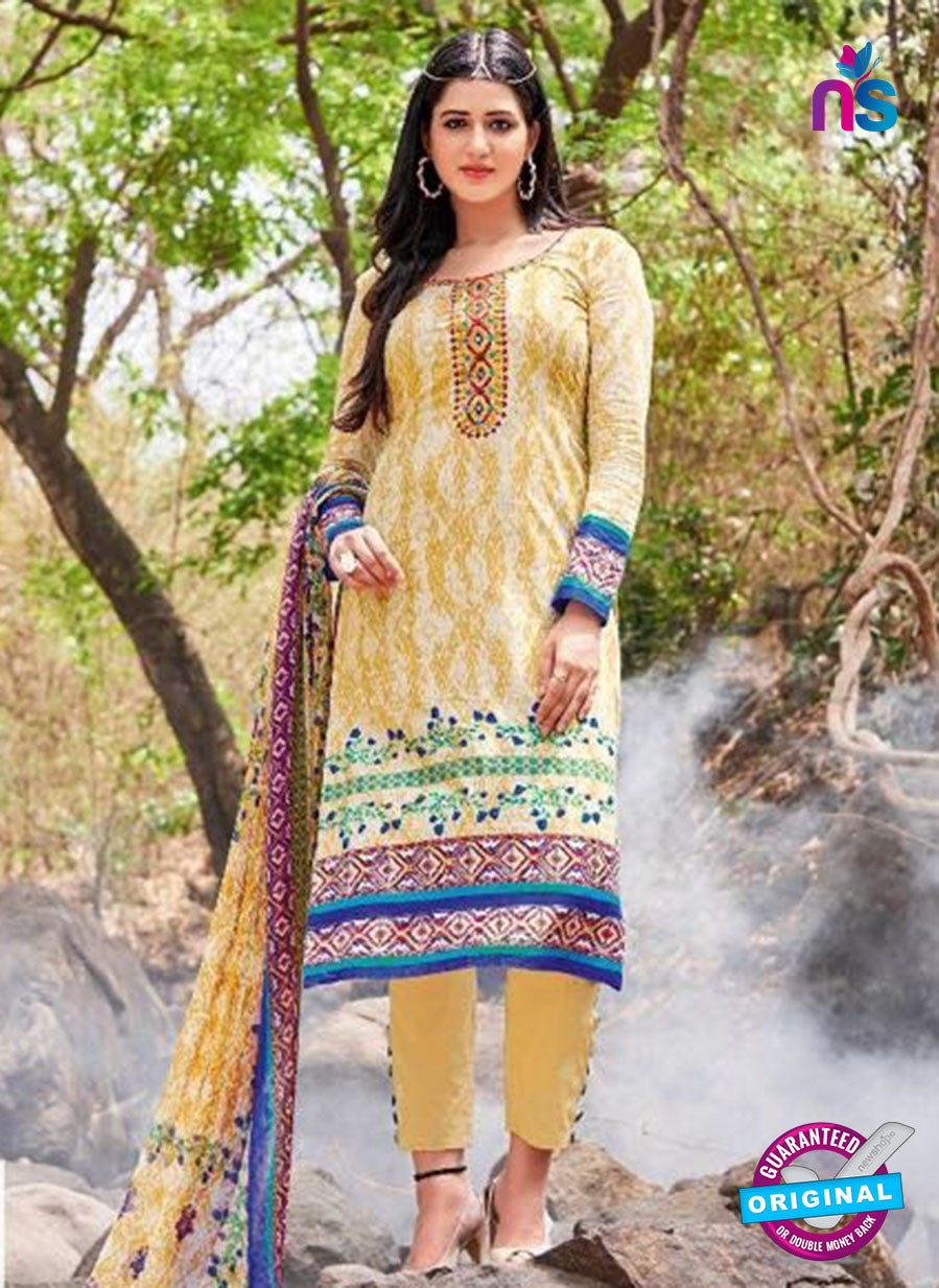 Kalakirti 2703 Yellow and Blue Printed Cotton Suit