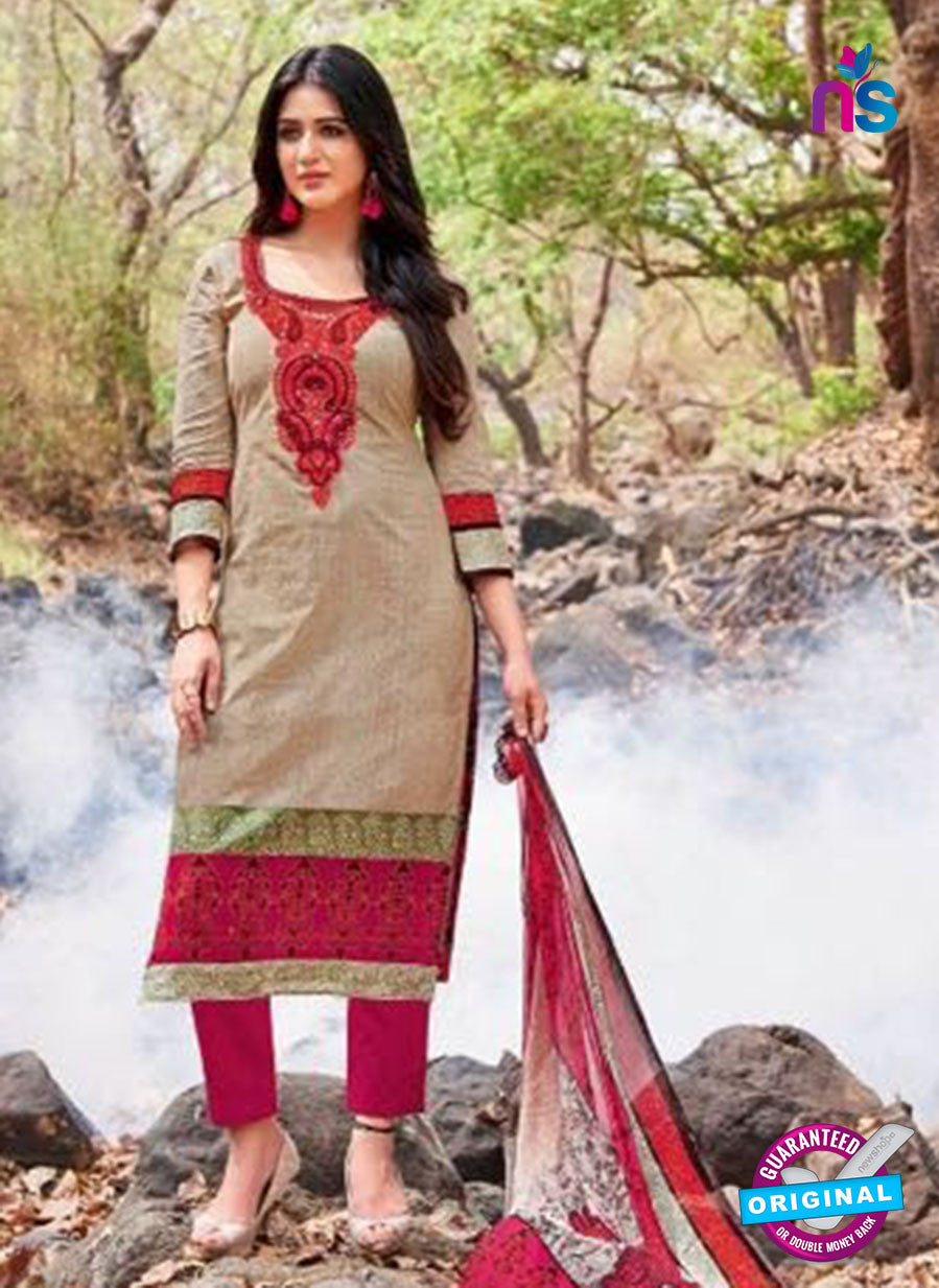 Kalakirti 2704 Beige and Magenta Printed Cotton Suit