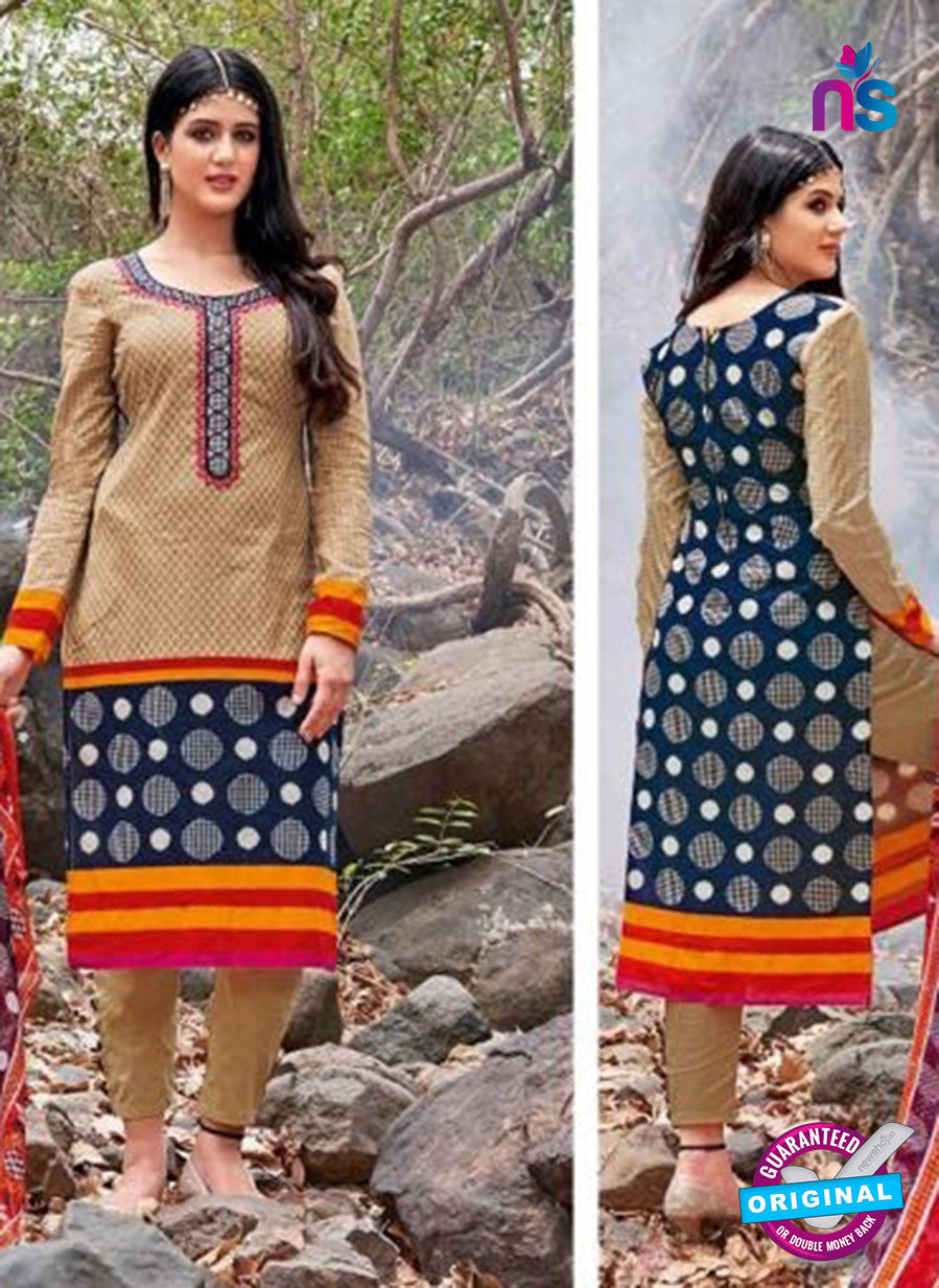 Kalakirti 2705 Brown and Blue Printed Cotton Suit