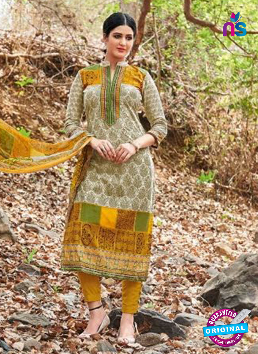 Kalakirti 2707 Beige and Yellow Printed Cotton Suit
