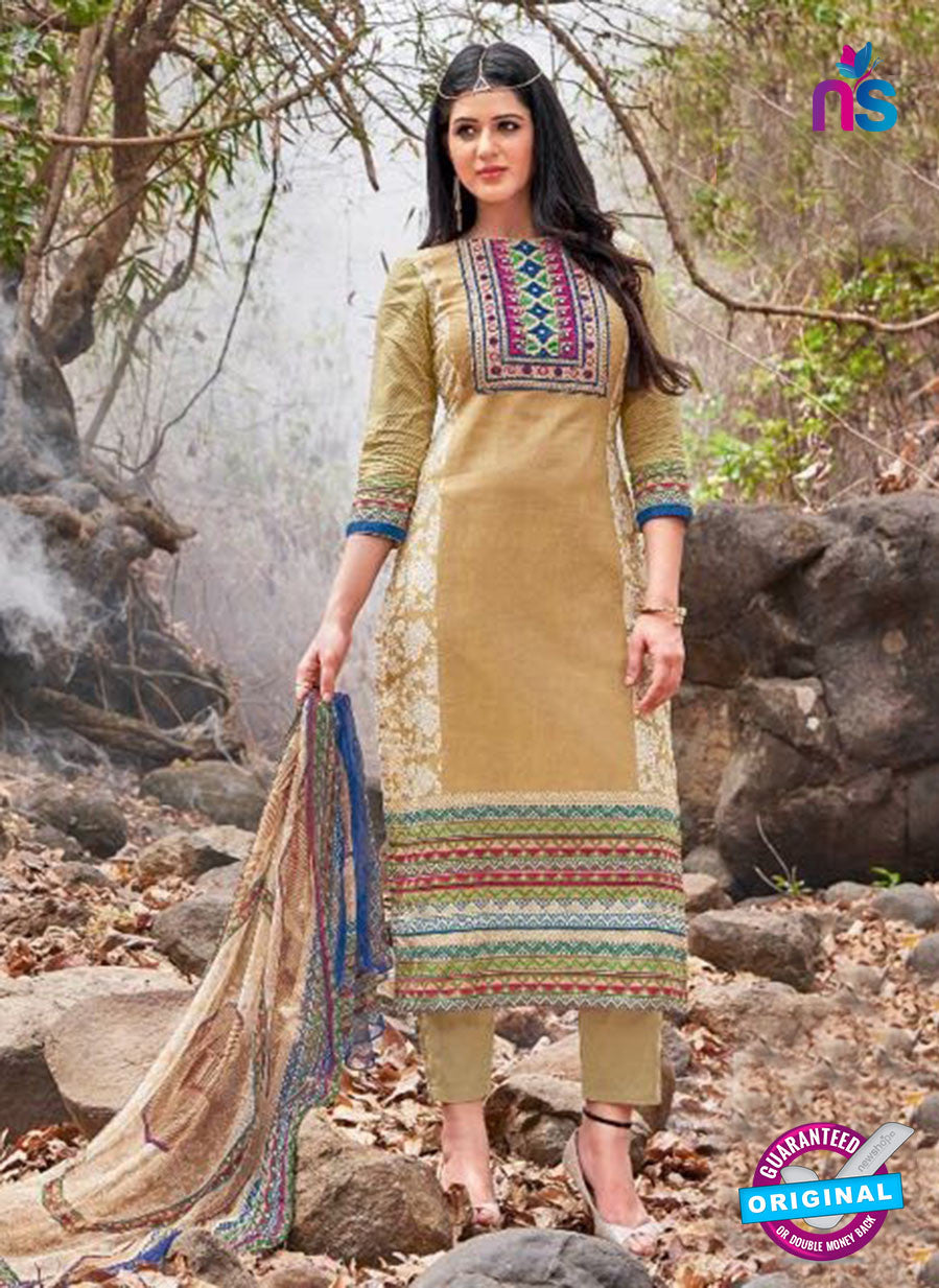 Kalakirti 2708 Beige and Brown Printed Cotton Suit