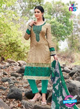 Kalakirti 2709 Beige and Green Printed Cotton Suit
