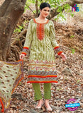 Kalakirti 2711 Green and Orange Printed Cotton Suit