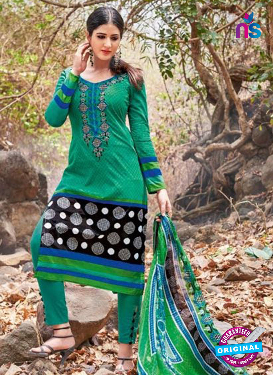 Kalakirti 2712 Black and Green Printed Cotton Suit