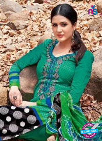 Kalakirti 2712 Green and Black Printed Cotton Suit