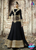 SC 12802 Black and Golden Pure Embroidered Georgette Party Wear Anarkali Suit