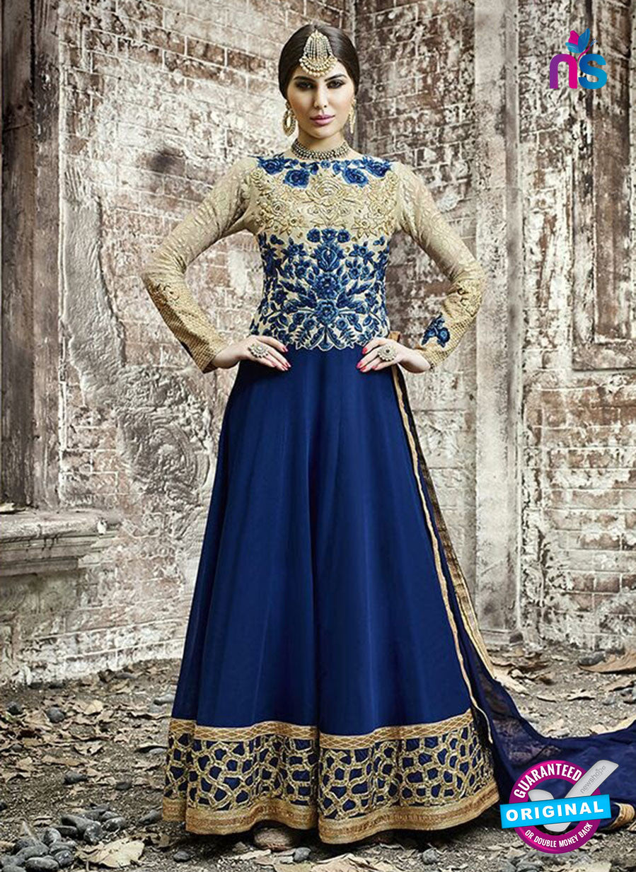 SC 12799 Blue and Golden Pure Embroidered Georgette Party Wear Anarkali Suit
