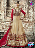 SC 12801 Golden and Red Pure Embroidered Georgette Party Wear Anarkali Suit
