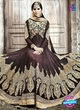 SC 12804 Brown and Golden Pure Embroidered Georgette Party Wear Anarkali Suit