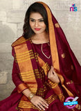SC 14216 Maroon Cotton Silk Formal Saree
