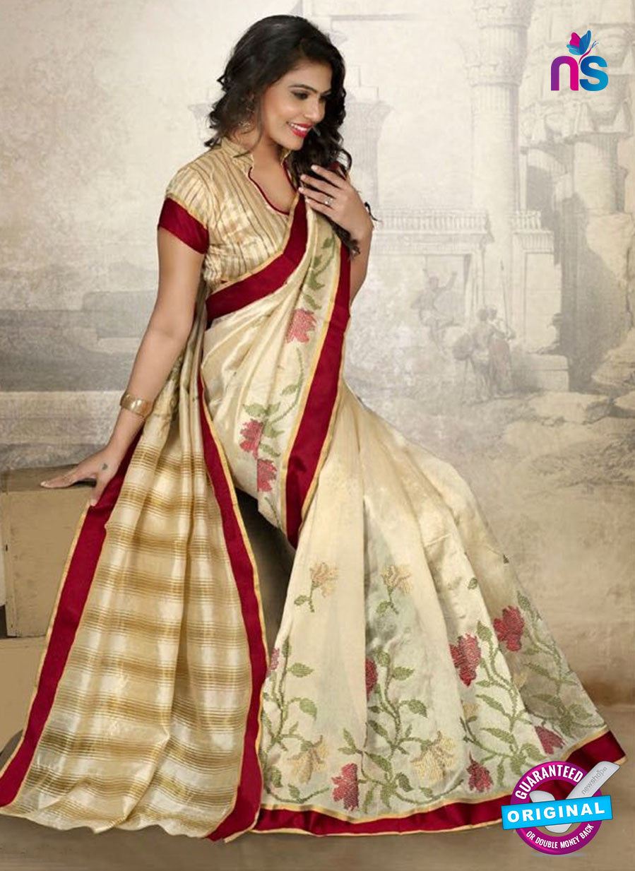 SC 14217 Beige Cotton Silk Formal Saree