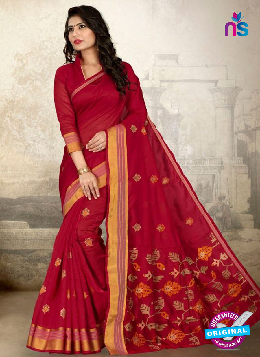 SC 14218 Maroon Cotton Silk Formal Saree