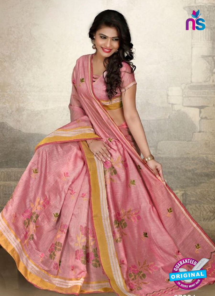 SC 14219 Pink Cotton Silk Formal Saree