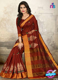 SC 14224 Brown Cotton Silk Formal Saree