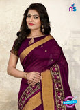 SC 14226 Purple Cotton Silk Formal Saree