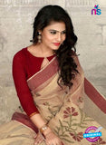 SC 14227 Beige Cotton Silk Formal Saree
