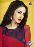 AZ 2277 Red and Blue Georgette Party Wear Kurti