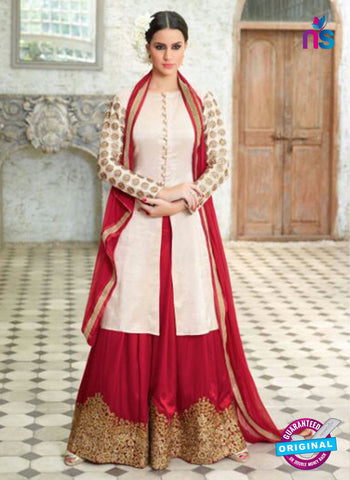 AZ 1013 Silk White and Maroon Suit