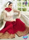 AZ 1013 White and Maroon Color Silk Suit - Salwar Suits - NEW SHOP