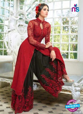 AZ 1016 Net Georgette Maroon and Black Suit