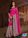 SC 13213 Pink, Black and White Bhagalpuri Saree