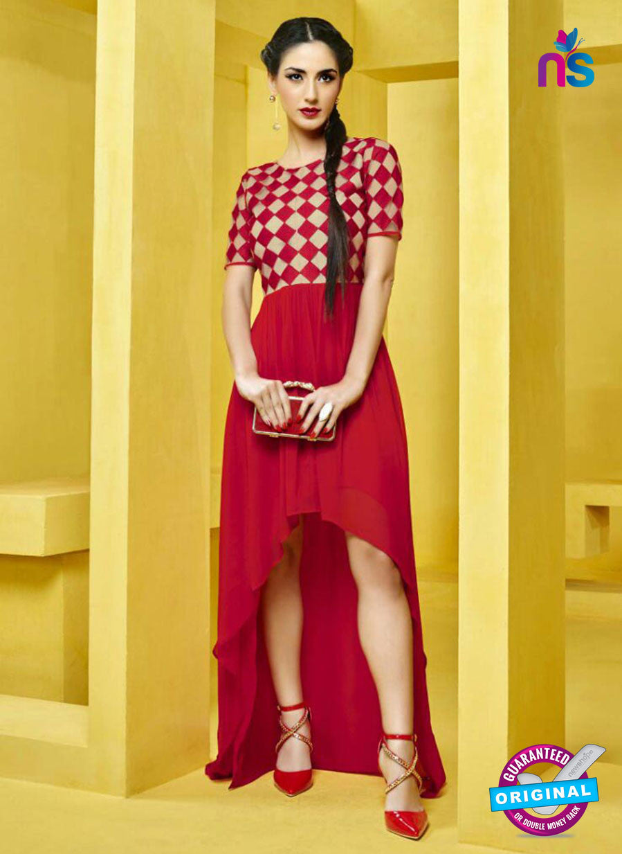 AZ 2280 Red and Beige Georgette Party Wear Tunic