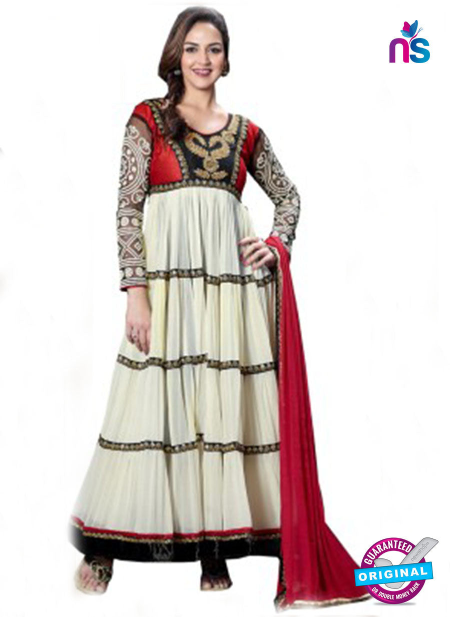 NS12219 Ivory and Black Anarkali Suit