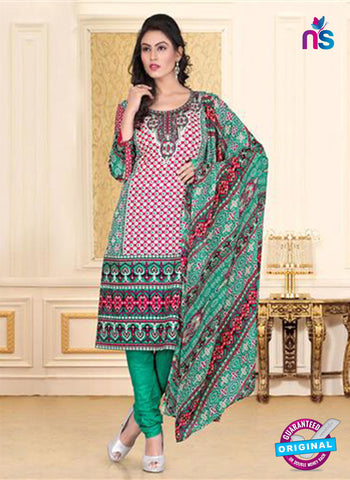 NS12266 Pink and Green Chudidar Suit
