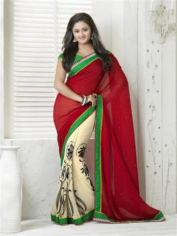Vinay Fashion Star Walk 15191  Red and Yellow Georgette Party Wear Saree
