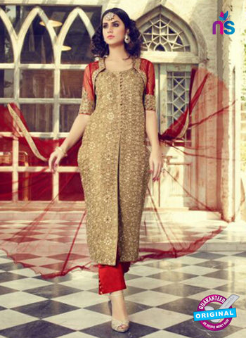 Mohini 29002 Beige and Red Silk Plazo Suit
