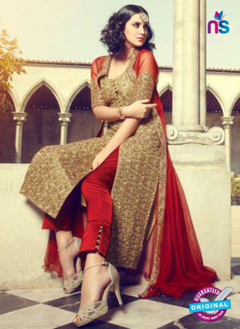 Mohini 29002 Beige and Red Silk Plazo Suit Online